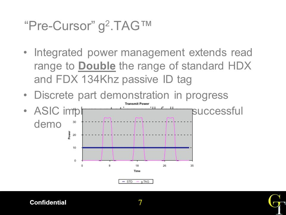 7 Confidential 7 Pre-Cursor g 2.TAG™ Integrated power management extends read range to Double the range of standard HDX and FDX 134Khz passive ID tag Discrete part demonstration in progress ASIC implementation will follow successful demo