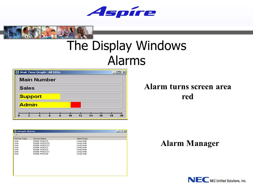 The Display Windows Alarms Alarm Manager Alarm turns screen area red