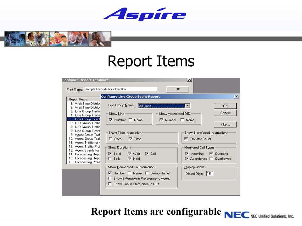 Report Items Report Items are configurable