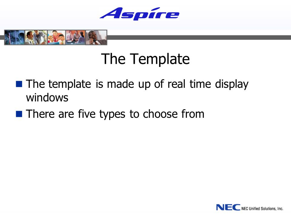 The Template The template is made up of real time display windows There are five types to choose from