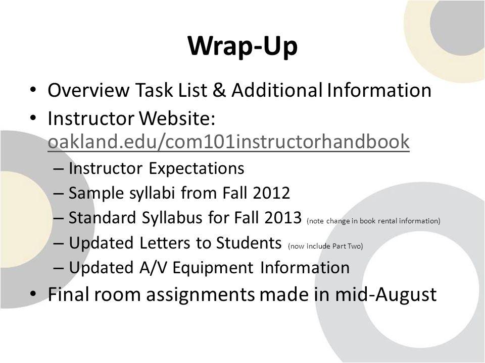 Wrap-Up Overview Task List & Additional Information Instructor Website: oakland.edu/com101instructorhandbook oakland.edu/com101instructorhandbook – In