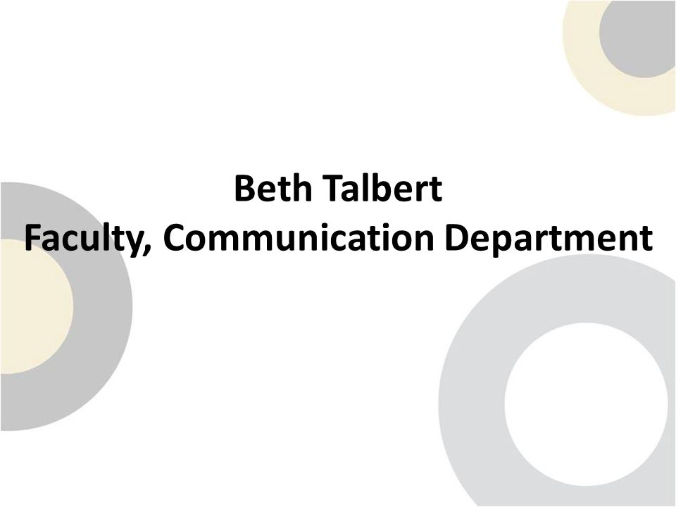 Beth Talbert Faculty, Communication Department