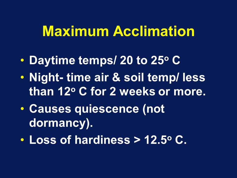 Maximum Acclimation Daytime temps/ 20 to 25 o C Night- time air & soil temp/ less than 12 o C for 2 weeks or more.