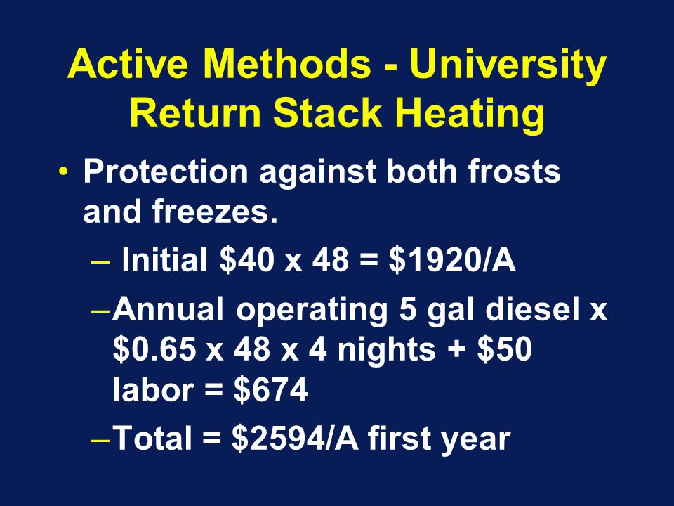 Active Methods - University Return Stack Heating Protection against both frosts and freezes.