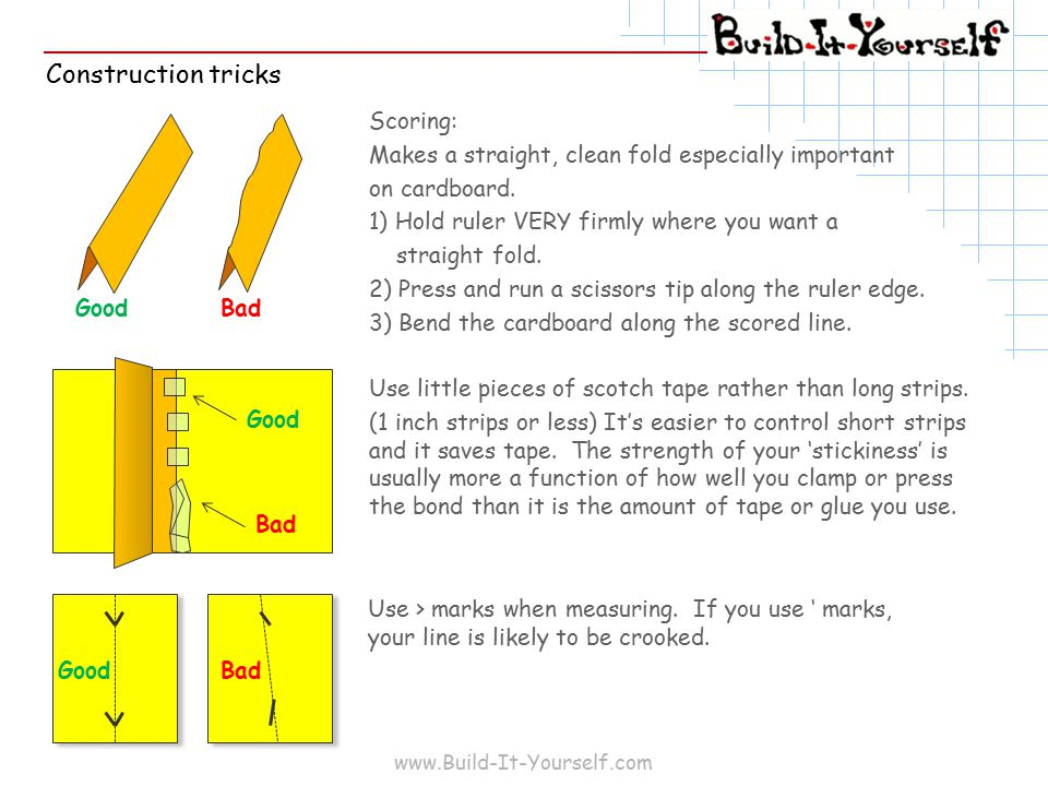 www.Build-It-Yourself.com Construction tricks Scoring: Makes a straight, clean fold especially important on cardboard.