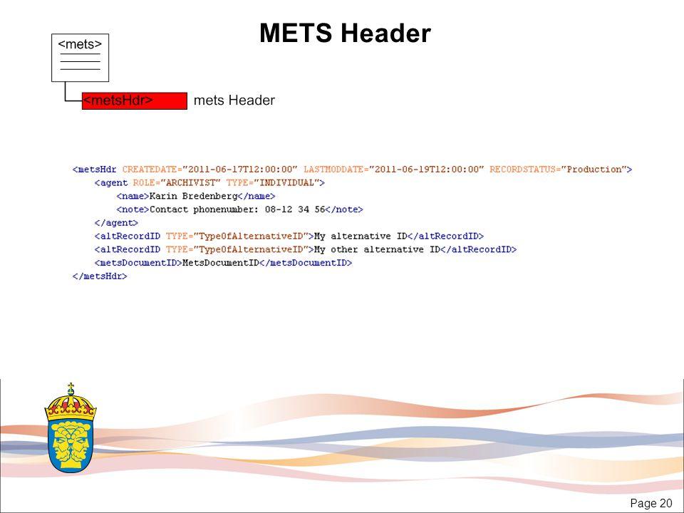 Page 20 METS Header