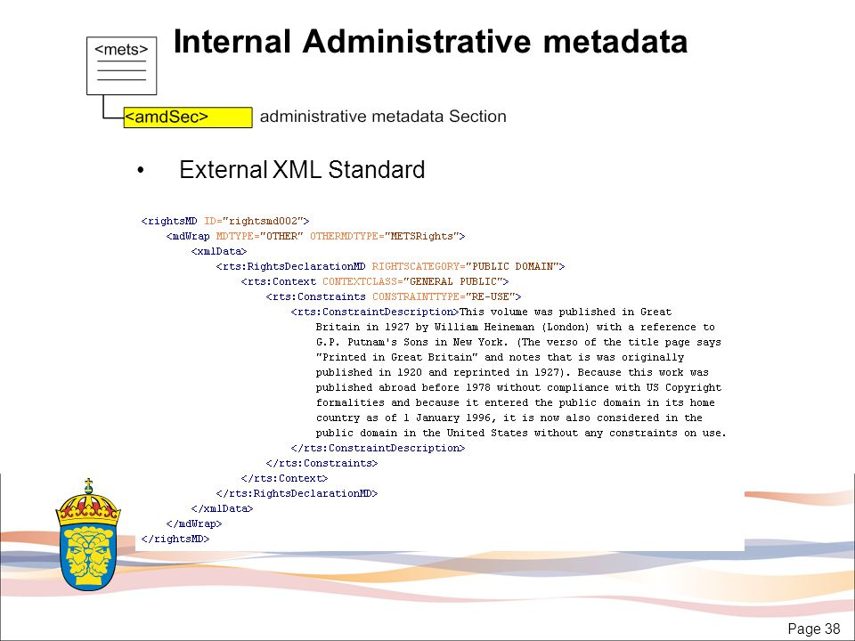 Page 38 Internal Administrative metadata External XML Standard