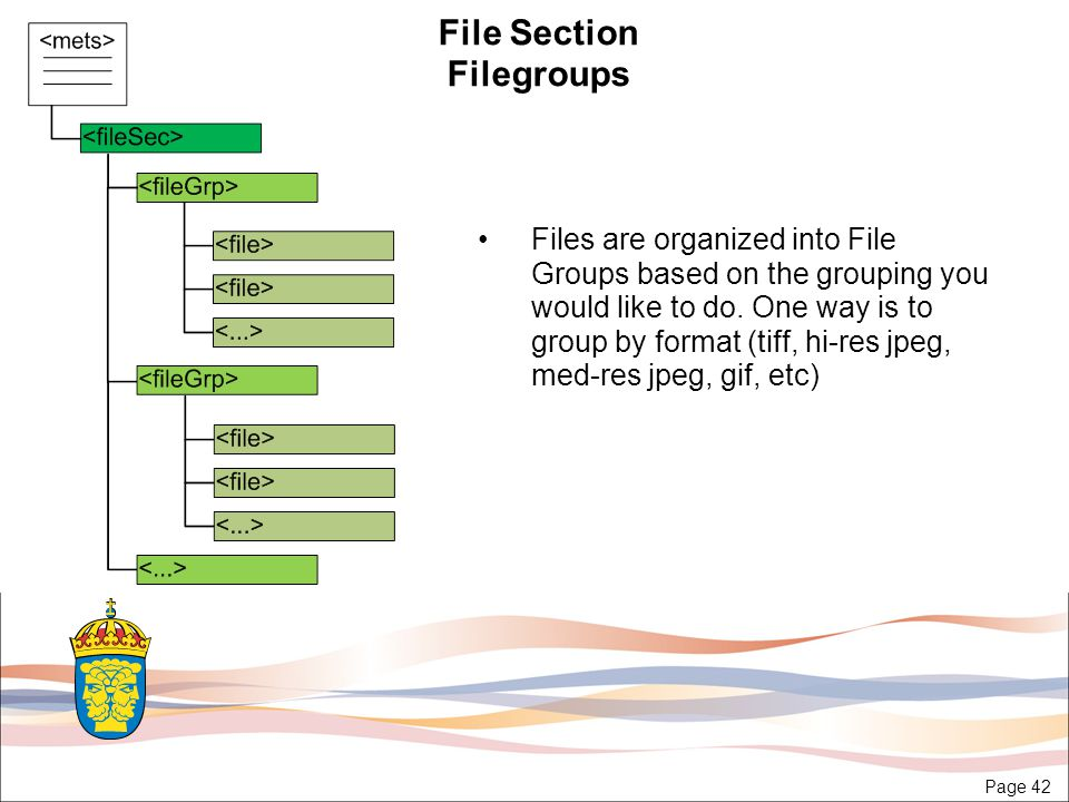 Page 42 File Section Filegroups Files are organized into File Groups based on the grouping you would like to do.