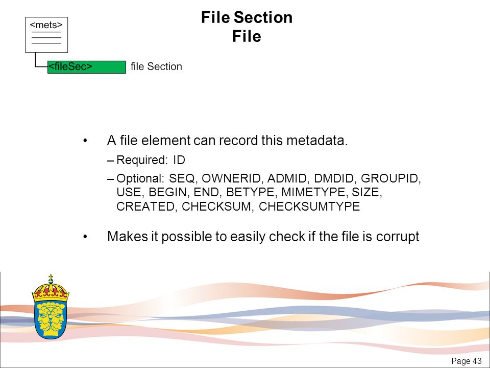 Page 43 File Section File A file element can record this metadata.