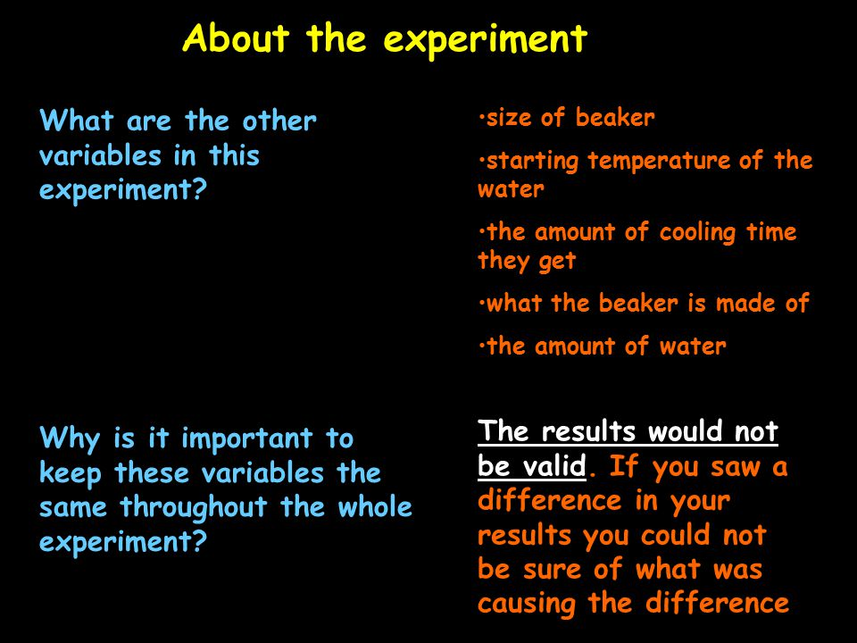 About the experiment What are the other variables in this experiment.