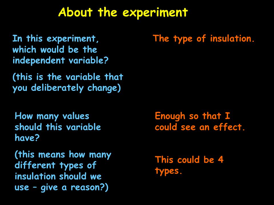 About the experiment In this experiment, which would be the independent variable.