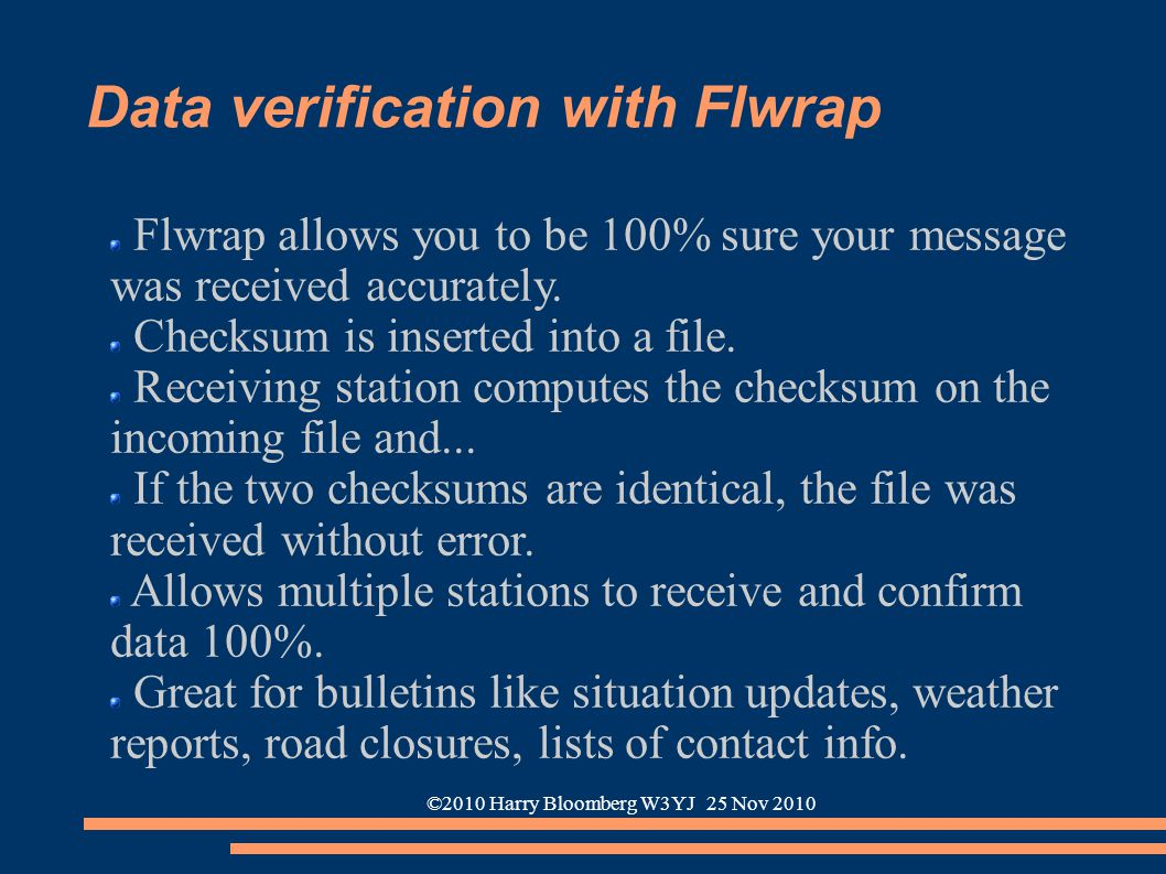 ©2010 Harry Bloomberg W3YJ 25 Nov 2010 Data verification with Flwrap Flwrap allows you to be 100% sure your message was received accurately. Checksum