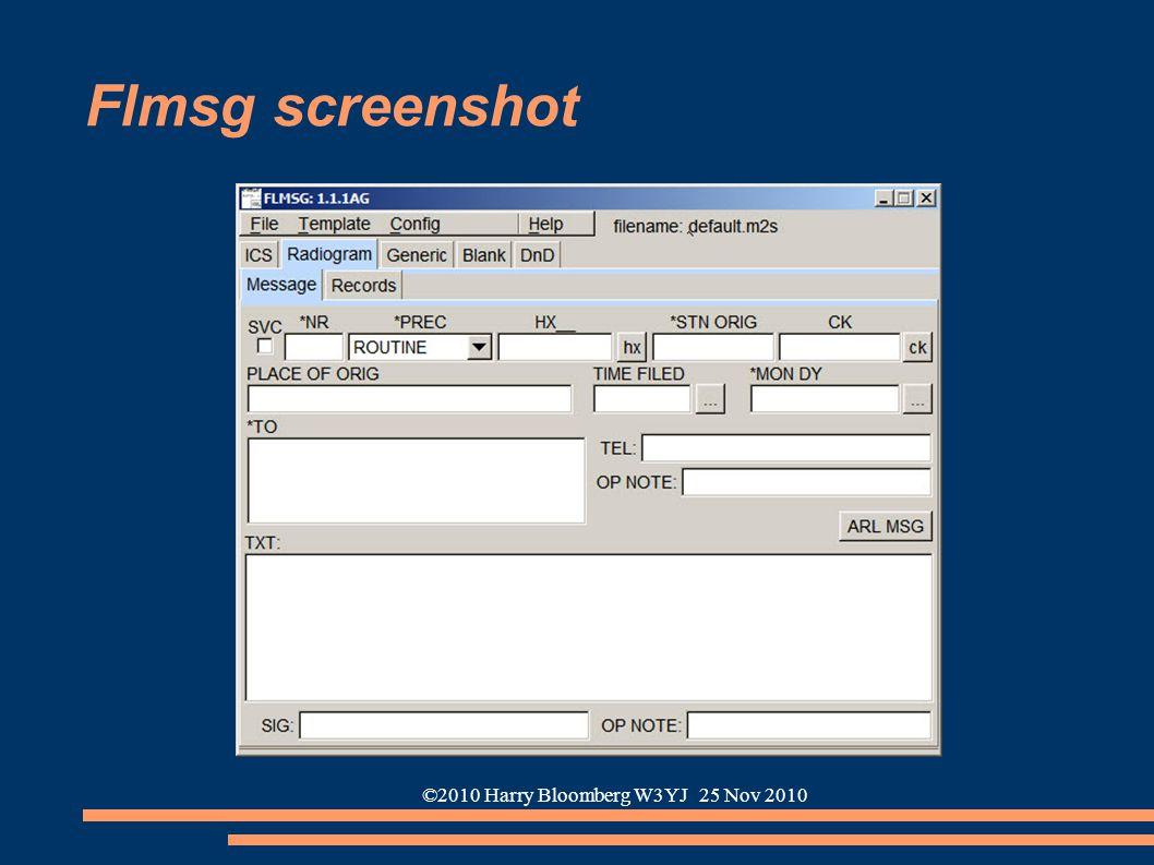 ©2010 Harry Bloomberg W3YJ 25 Nov 2010 Flmsg screenshot