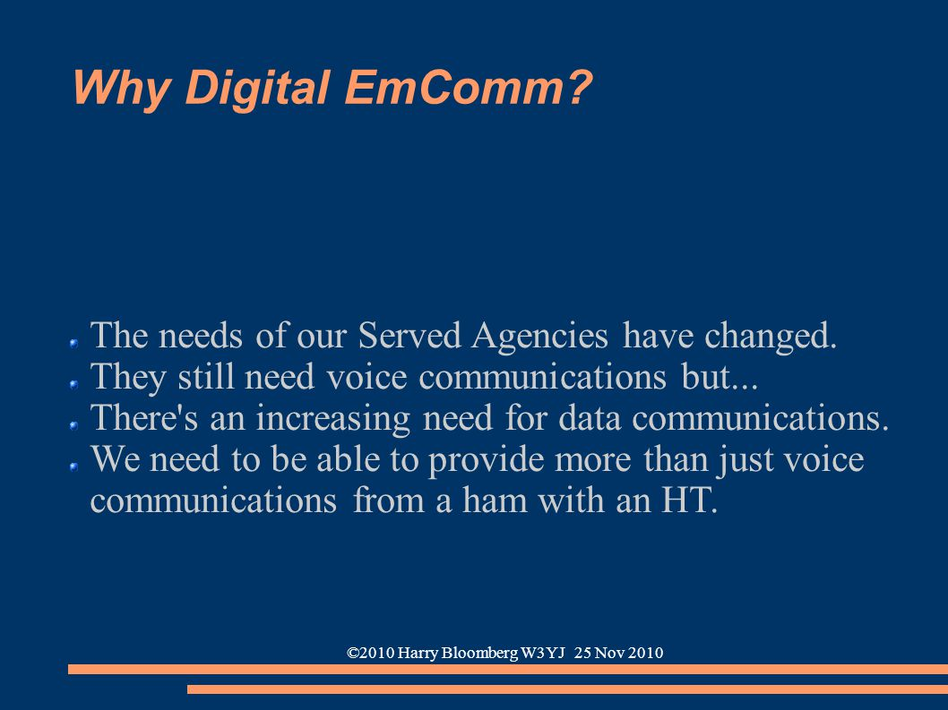 ©2010 Harry Bloomberg W3YJ 25 Nov 2010 Why Digital EmComm? The needs of our Served Agencies have changed. They still need voice communications but...