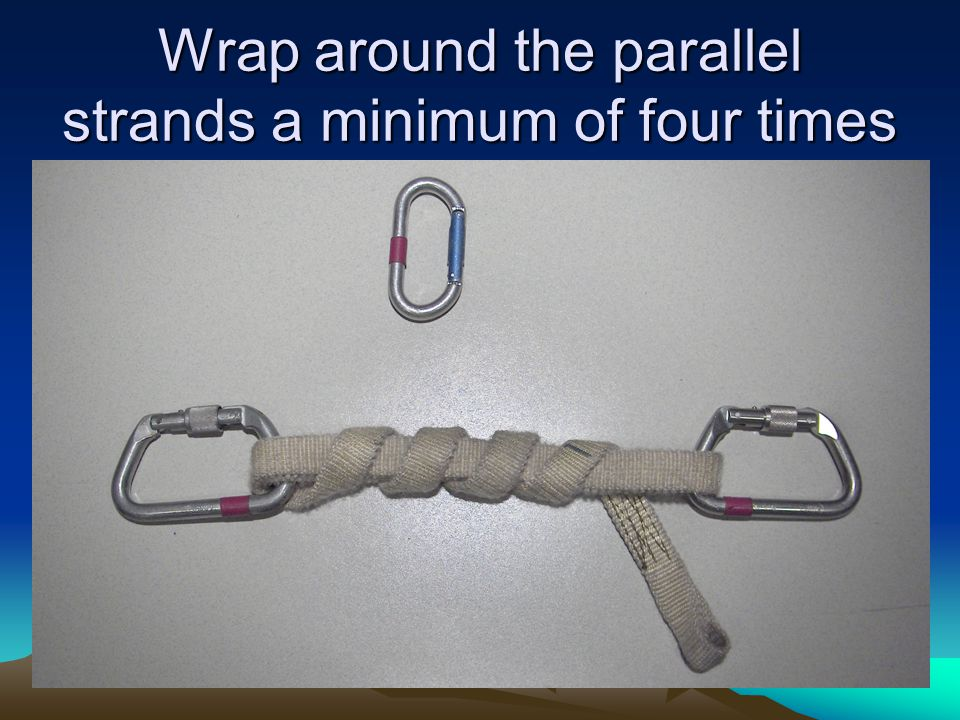Wrap around the parallel strands a minimum of four times
