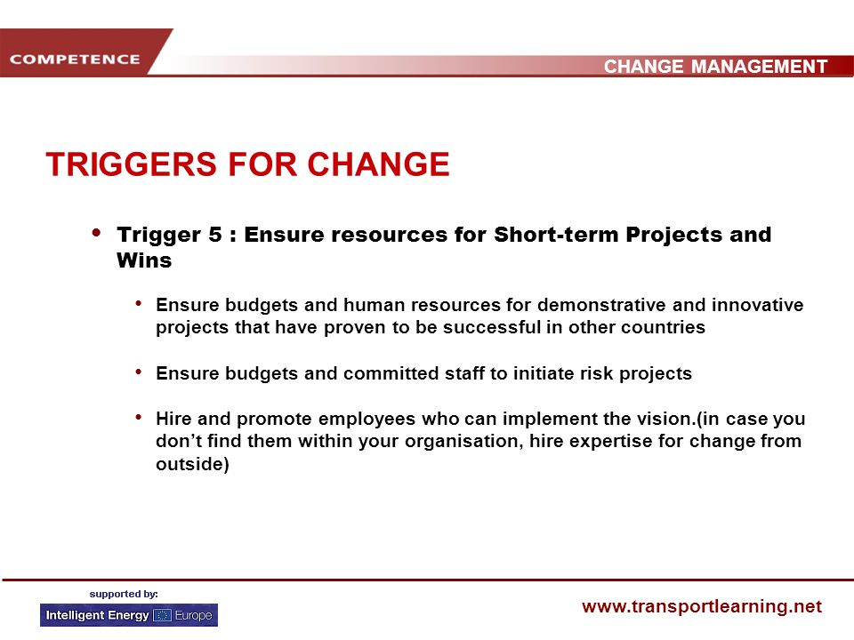 CHANGE MANAGEMENT www.transportlearning.net TRIGGERS FOR CHANGE Trigger 4 : Empower staff and stakeholders to act on the Vision Change systems, structures that seriously undermine the vision Encourage risk taking and non-traditional ideas, activities and actions Get rid of obstacles and routines that adverse change Facilitate new behaviours by the example of the guiding coalition and example