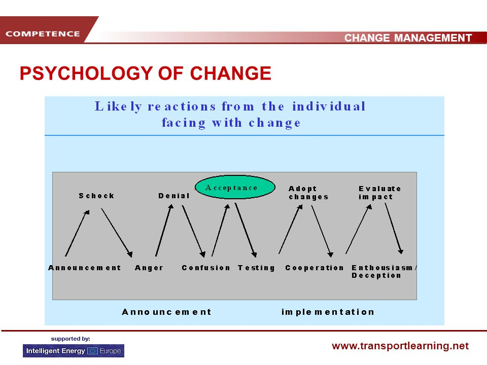 CHANGE MANAGEMENT www.transportlearning.net PSYCHOLOGY OF CHANGE We experience changes physically, mentally and emotionally Usually it is subtle and slow but it can be sudden – disrupting our work, dislocating our relationships or ruining our leisure time.