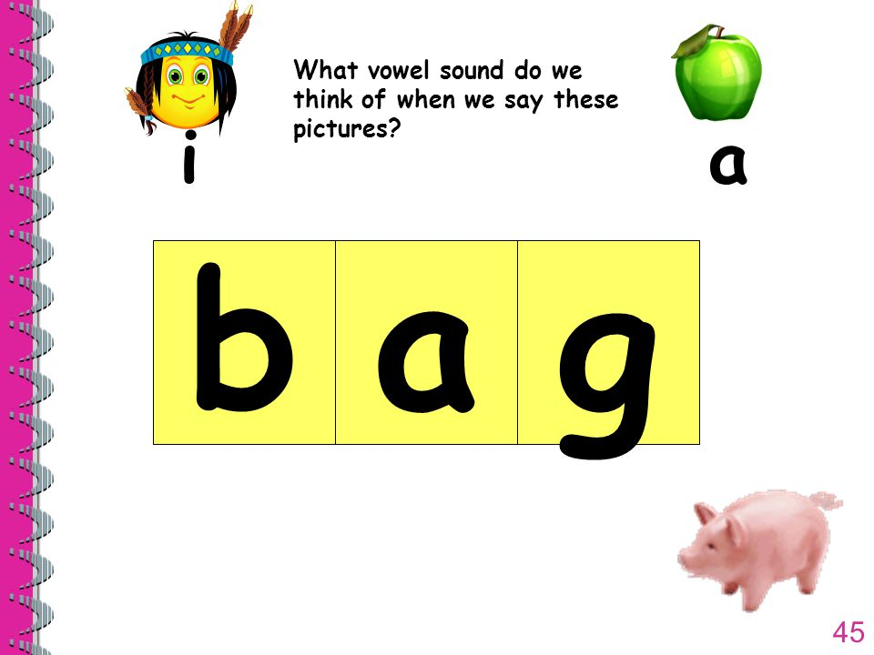 45 What vowel sound do we think of when we say these pictures ia bag