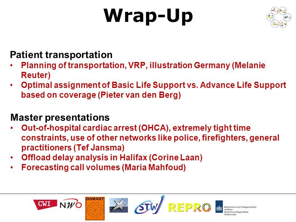 Wrap-Up Patient transportation Planning of transportation, VRP, illustration Germany (Melanie Reuter) Optimal assignment of Basic Life Support vs.