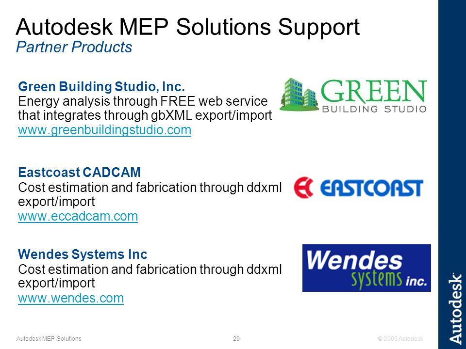© 2005 Autodesk29 Autodesk MEP Solutions Green Building Studio, Inc.