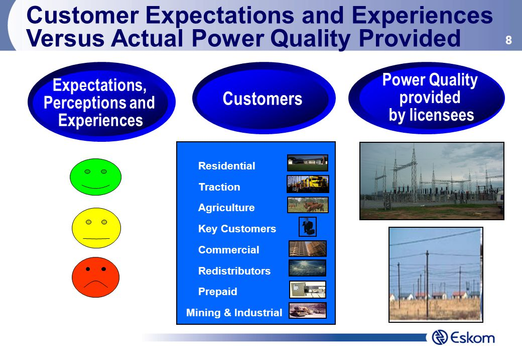 8 Residential Traction Agriculture Key Customers Commercial Redistributors Prepaid Mining & Industrial Customers Expectations, Perceptions and Experiences Power Quality provided by licensees Customer Expectations and Experiences Versus Actual Power Quality Provided