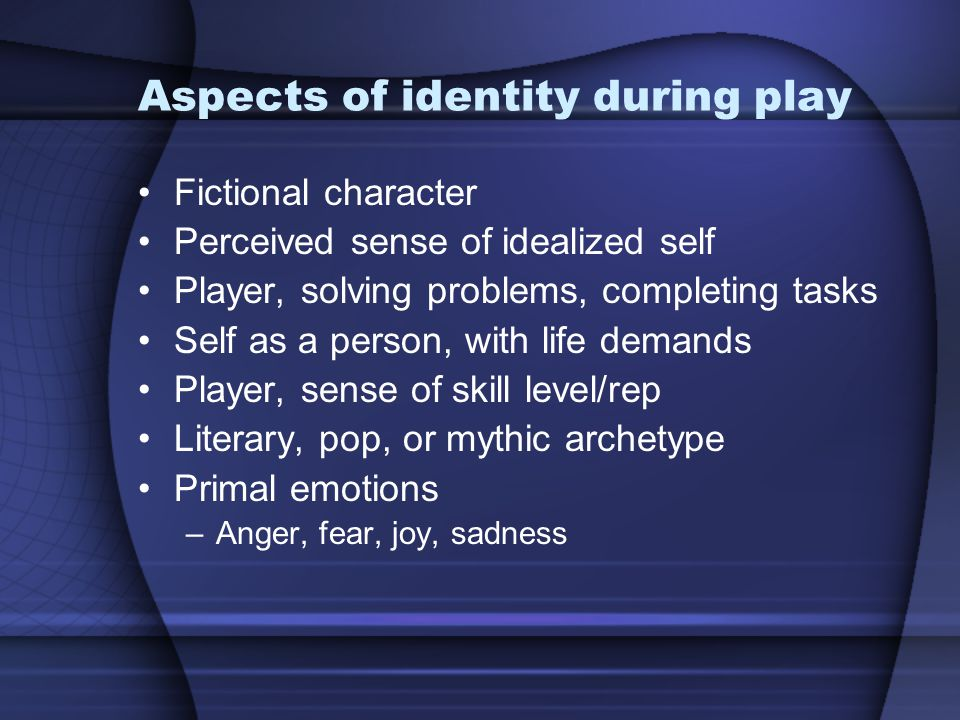 Aspects of identity during play Fictional character Perceived sense of idealized self Player, solving problems, completing tasks Self as a person, wit