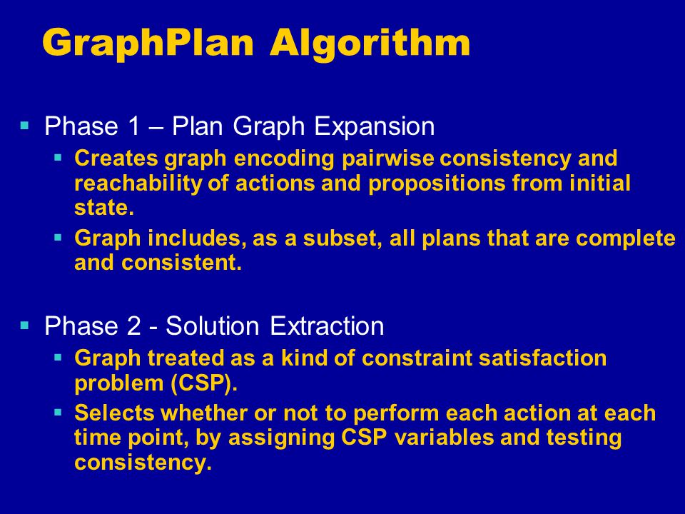 GraphPlan Algorithm  Phase 1 – Plan Graph Expansion  Creates graph encoding pairwise consistency and reachability of actions and propositions from initial state.