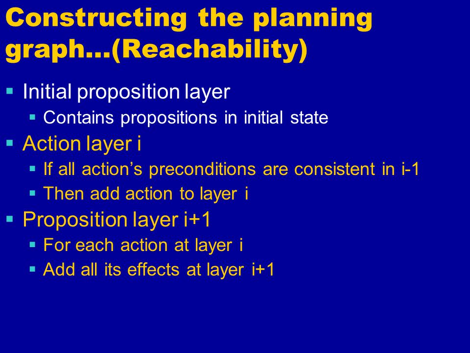 Constructing the planning graph…(Reachability)  Initial proposition layer  Contains propositions in initial state  Action layer i  If all action's preconditions are consistent in i-1  Then add action to layer i  Proposition layer i+1  For each action at layer i  Add all its effects at layer i+1