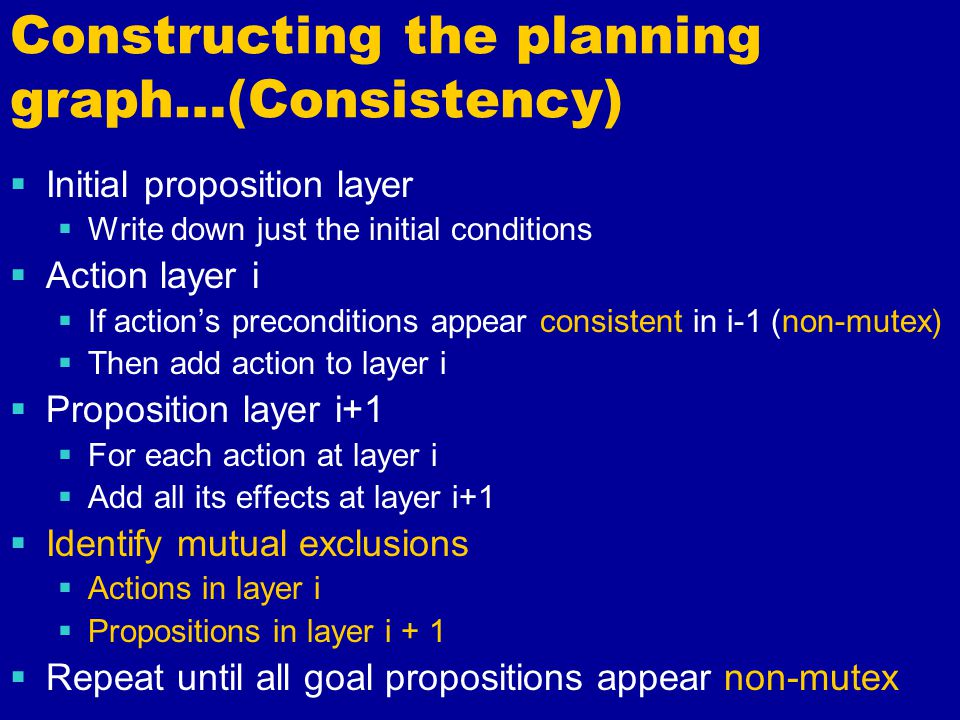 Constructing the planning graph…(Consistency)  Initial proposition layer  Write down just the initial conditions  Action layer i  If action's preconditions appear consistent in i-1 (non-mutex)  Then add action to layer i  Proposition layer i+1  For each action at layer i  Add all its effects at layer i+1  Identify mutual exclusions  Actions in layer i  Propositions in layer i + 1  Repeat until all goal propositions appear non-mutex