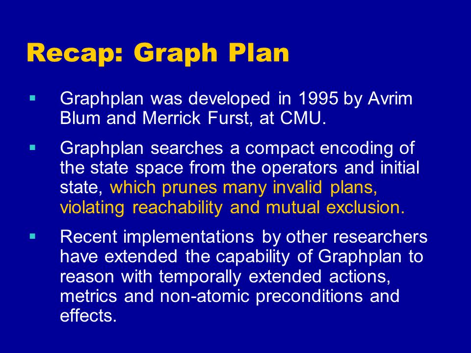 Recap: Graph Plan  Graphplan was developed in 1995 by Avrim Blum and Merrick Furst, at CMU.