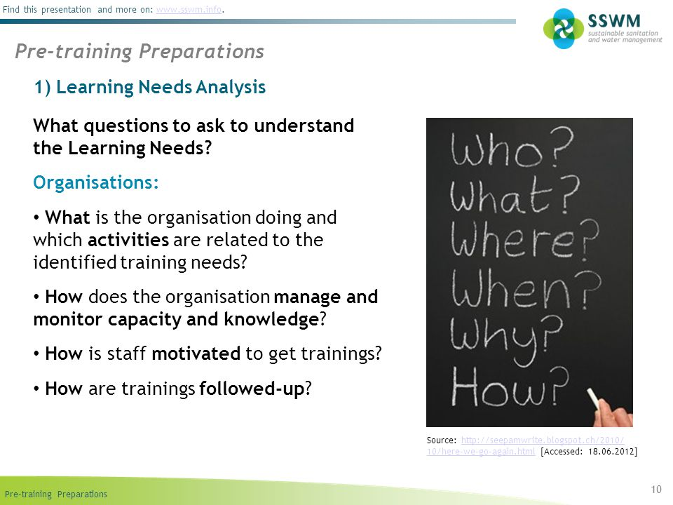 Pre-training Preparations Find this presentation and more on: www.sswm.info.www.sswm.info 1) Learning Needs Analysis What questions to ask to understand the Learning Needs.