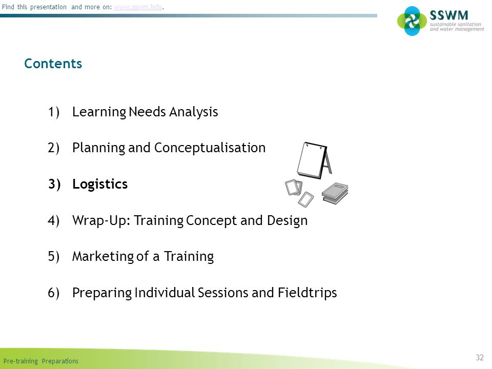 Pre-training Preparations Find this presentation and more on: www.sswm.info.www.sswm.info 1)Learning Needs Analysis 2)Planning and Conceptualisation 3)Logistics 4)Wrap-Up: Training Concept and Design 5)Marketing of a Training 6)Preparing Individual Sessions and Fieldtrips Contents 32