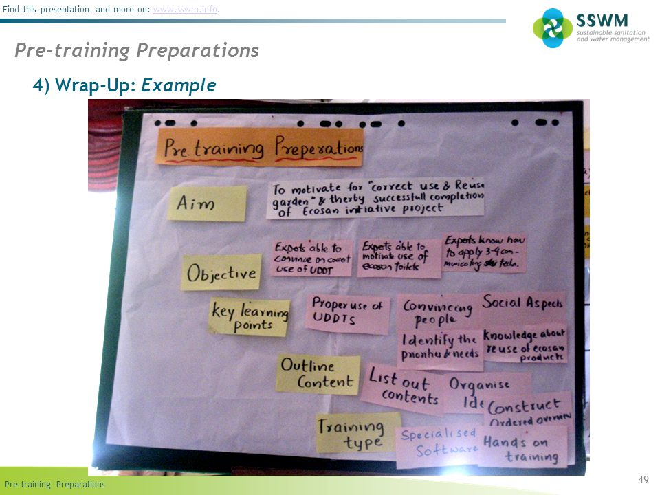 Find this presentation and more on: www.sswm.info.www.sswm.info 4) Wrap-Up: Example 49 Pre-training Preparations