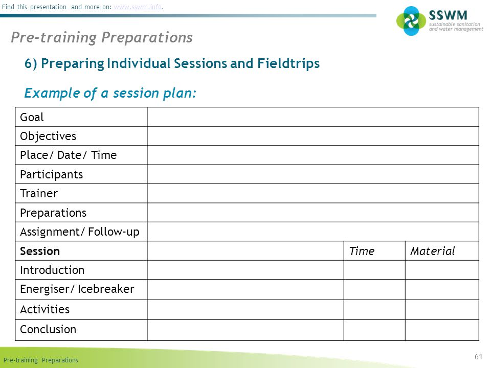 Pre-training Preparations Find this presentation and more on: www.sswm.info.www.sswm.info 6) Preparing Individual Sessions and Fieldtrips 61 Pre-training Preparations Example of a session plan: Goal Objectives Place/ Date/ Time Participants Trainer Preparations Assignment/ Follow-up SessionTimeMaterial Introduction Energiser/ Icebreaker Activities Conclusion
