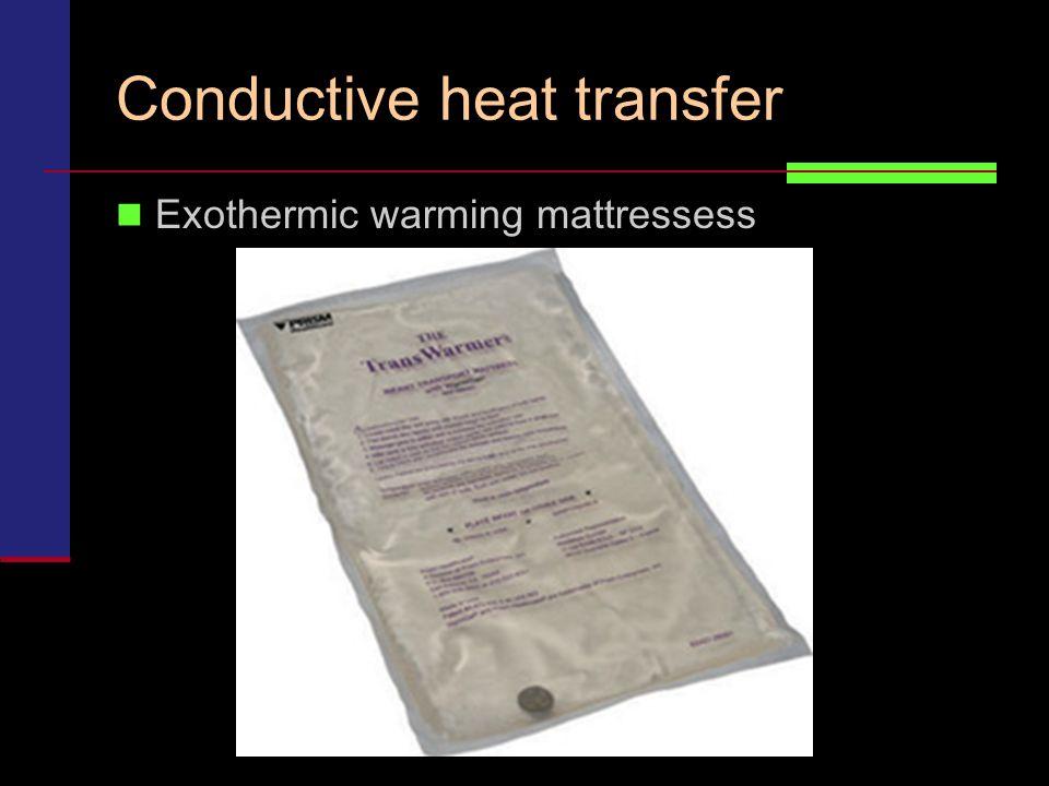 Conductive heat transfer Exothermic warming mattressess
