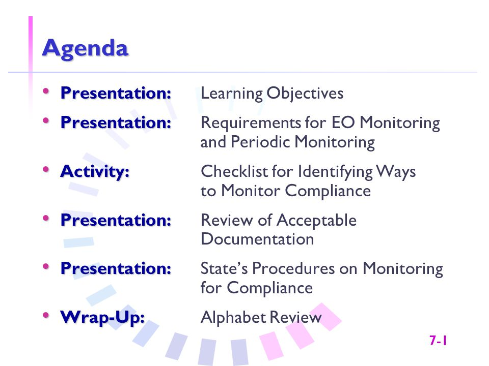 7-1 Agenda Presentation: Presentation:Learning Objectives Presentation: Presentation:Requirements for EO Monitoring and Periodic Monitoring Activity: Activity: Checklist for Identifying Ways to Monitor Compliance Presentation: Presentation: Review of Acceptable Documentation Presentation: Presentation: State's Procedures on Monitoring for Compliance Wrap-Up: Wrap-Up:Alphabet Review