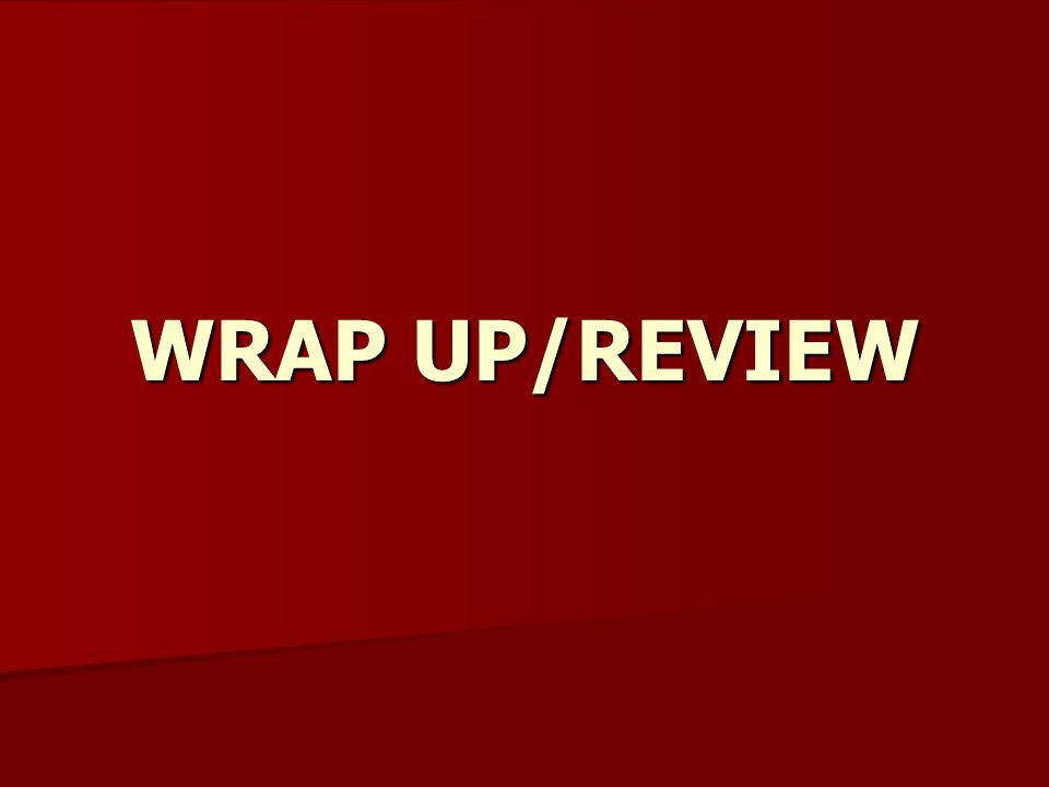 WRAP UP/REVIEW