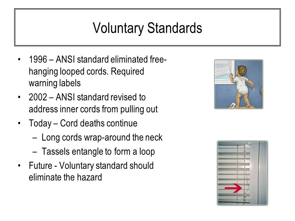 Voluntary Standards 1996 – ANSI standard eliminated free- hanging looped cords.