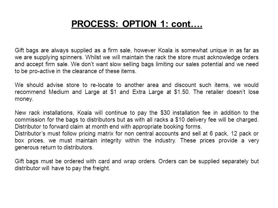 PROCESS: OPTION 1: cont….