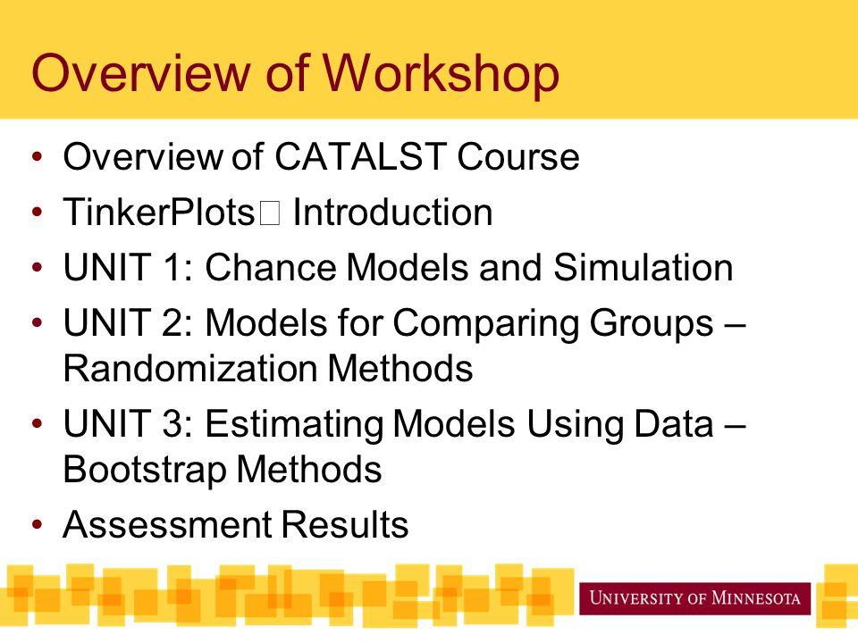 Agenda for Session 4 Summary of Assessment Results Overview of Assessment Instruments Comparison of CATALST and Non- CATALST students