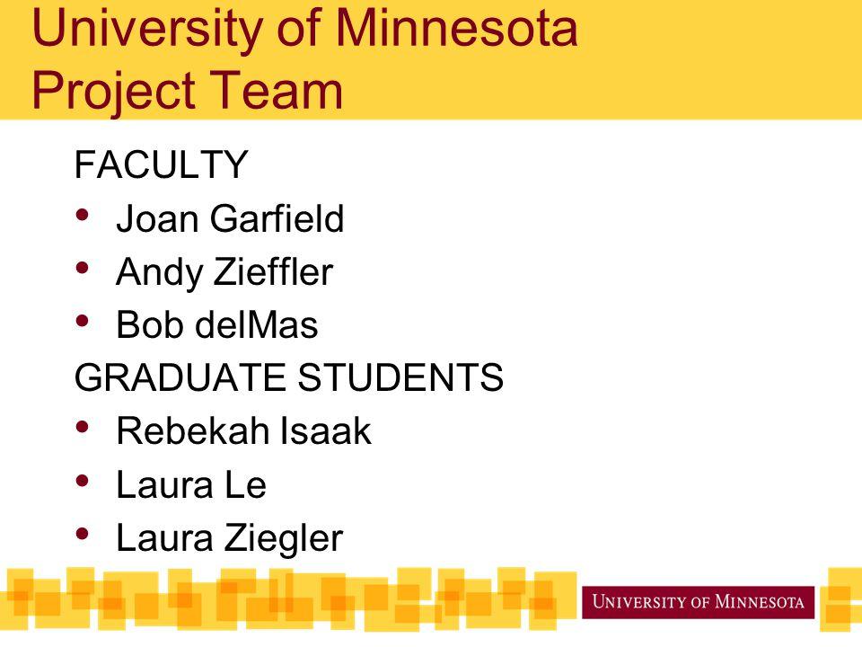 University of Minnesota Project Team FACULTY Joan Garfield Andy Zieffler Bob delMas GRADUATE STUDENTS Rebekah Isaak Laura Le Laura Ziegler