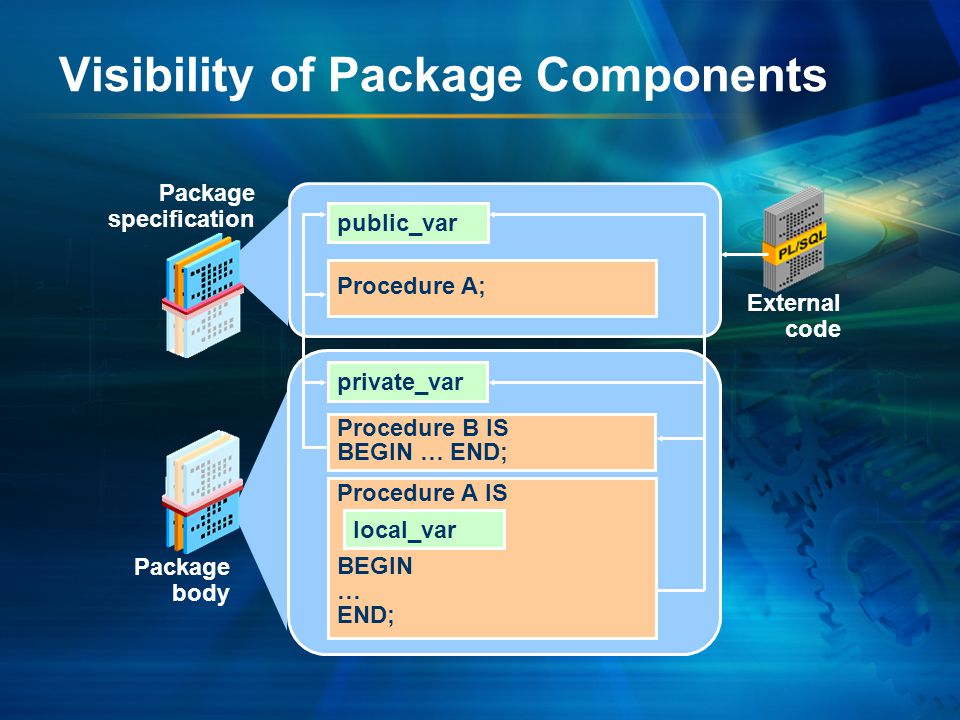 Advantages of Using Packages –Modularity: Encapsulating related constructs –Easier maintenance: Keeping logically related functionality together –Easier application design: Coding and compiling the specification and body separately –Hiding information: Only the declarations in the package specification are visible and accessible to applications.