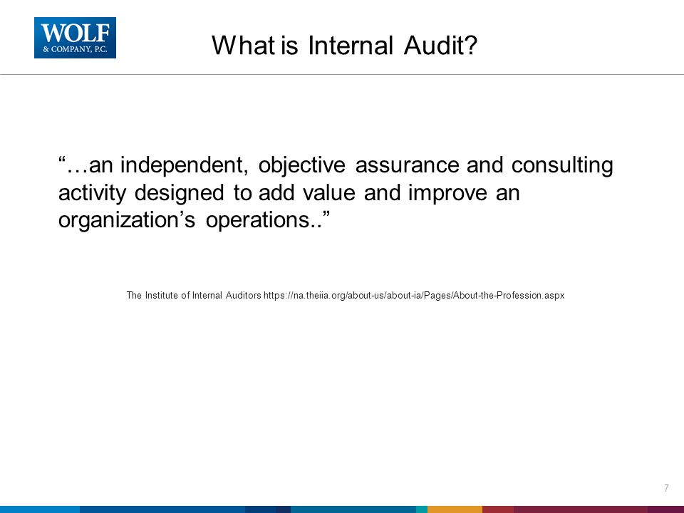 Types of Internal Audits There are four major types of internal audits, financial, operating, compliance and information technology - it is not unusual to incorporate elements of each.