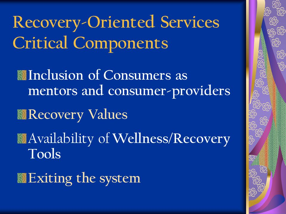 Recovery-Oriented Services Critical Components Inclusion of Consumers as mentors and consumer-providers Recovery Values Availability of Wellness/Recov