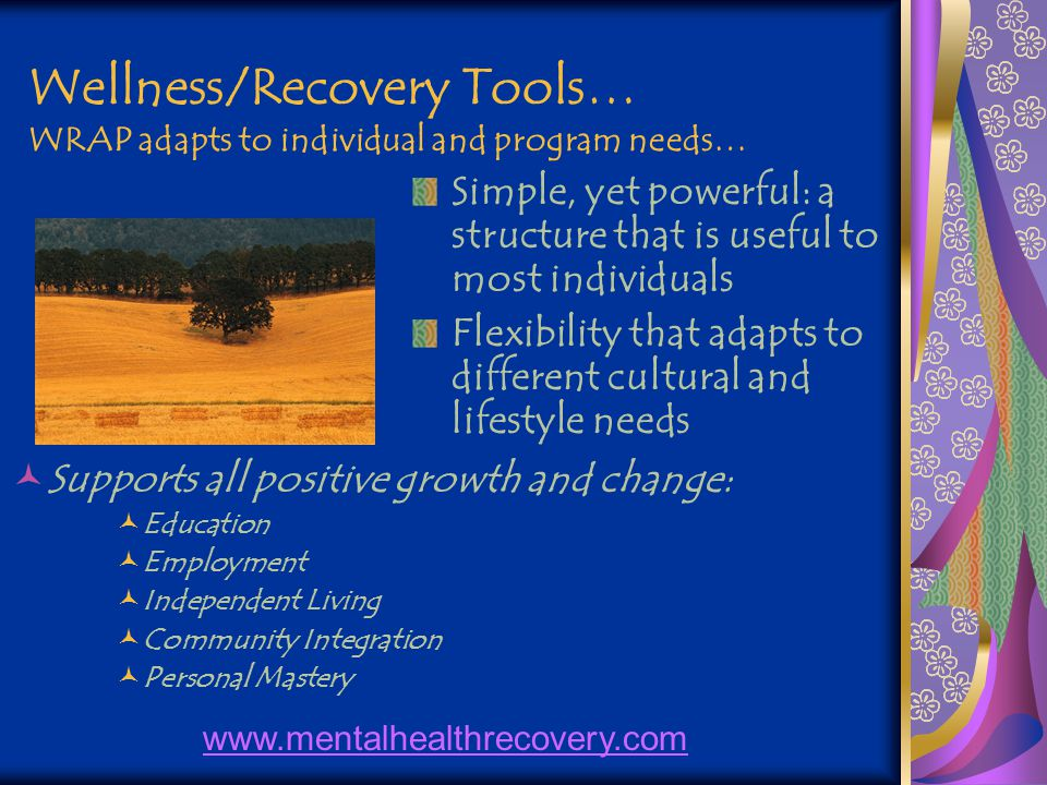 Wellness/Recovery Tools… WRAP adapts to individual and program needs… Simple, yet powerful: a structure that is useful to most individuals Flexibility