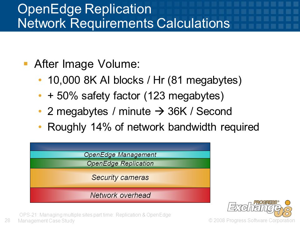 © 2008 Progress Software Corporation28 OPS-21: Managing multiple sites part time: Replication & OpenEdge Management Case Study OpenEdge Replication Network Requirements Calculations  After Image Volume: 10,000 8K AI blocks / Hr (81 megabytes) + 50% safety factor (123 megabytes) 2 megabytes / minute  36K / Second Roughly 14% of network bandwidth required Network overhead Security cameras OpenEdge Replication OpenEdge Management