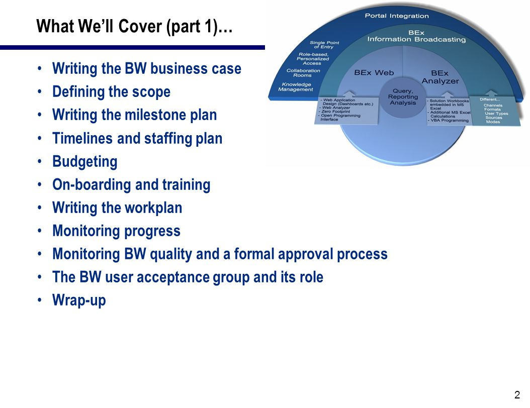 3 What We'll Cover (in part 2)… The blueprinting phase  Leveraging the standard content  Modeling for your solution  Deliverables The realization phase  Best practices for managing the implementation of ODS and InfoCubes  Managing the environments and transports  Managing unit, system, integration & stress testing of BW The implementation phase  Executing the cut-over to production  Conducting end-user and power user training  Establishing the end-user support organization  Post-implementation review and next steps