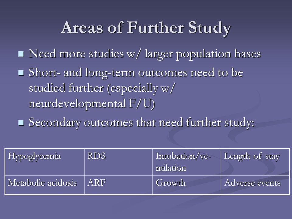 Areas of Further Study Need more studies w/ larger population bases Need more studies w/ larger population bases Short- and long-term outcomes need to
