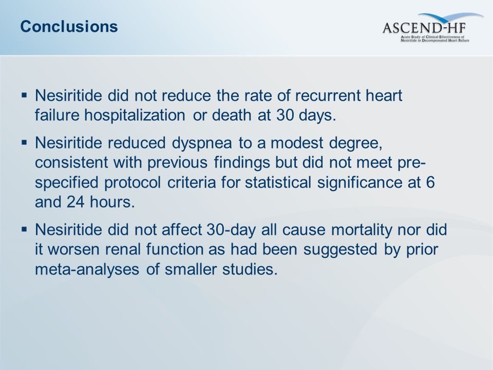  Nesiritide did not reduce the rate of recurrent heart failure hospitalization or death at 30 days.  Nesiritide reduced dyspnea to a modest degree,