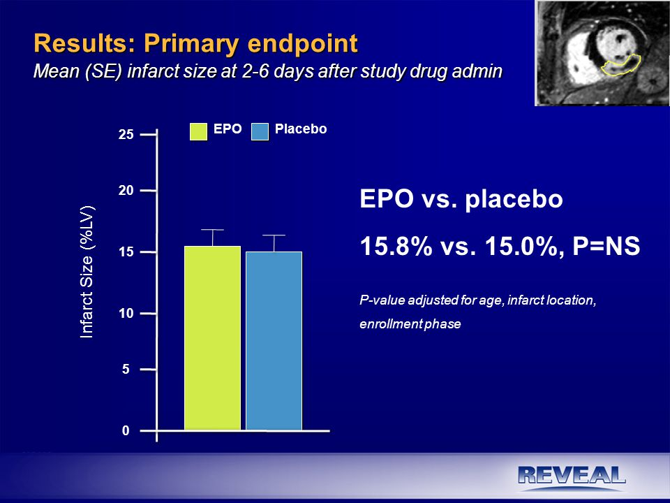 Results: Primary endpoint Mean (SE) infarct size at 2-6 days after study drug admin EPO vs. placebo 15.8% vs. 15.0%, P=NS P-value adjusted for age, in